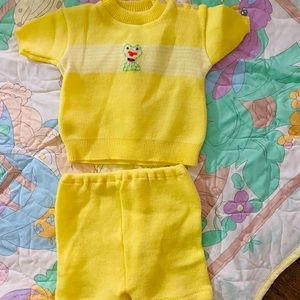 Bright yellow 2 piece sweater suit. Top and shorts